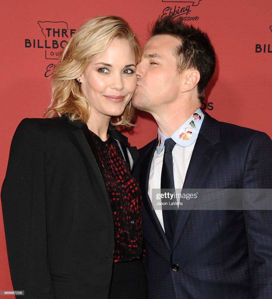 Actress Leslie Bibb and actor Sam Rockwell attend the premiere of 'Three Billboards Outside Ebbing, Missouri' at NeueHouse Hollywood on November 3, 2017 in Los Angeles, California.