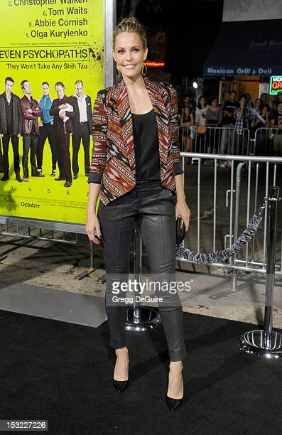 Actress Leslie Bibb arrives at the Los Angeles premiere of 'Seven Psychopaths' at Mann Bruin Theatre on October 1 2012 in Westwood California