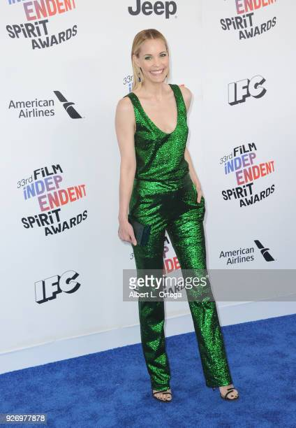 Actress Leslie Bibb arrives for the 2018 Film Independent Spirit Awards on March 3 2018 in Santa Monica California