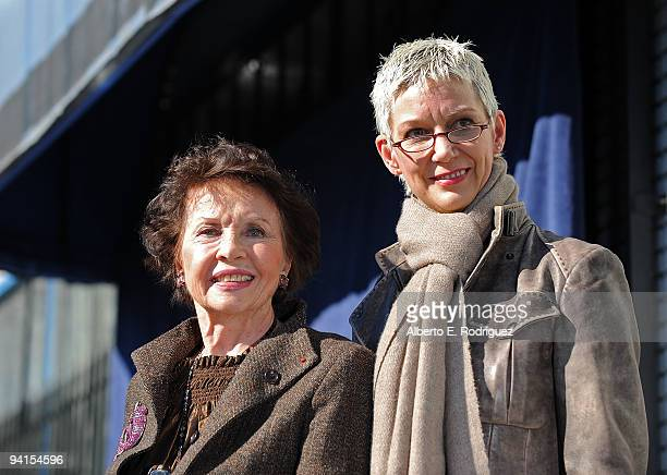 Actress Leslie Caron and Patricia Kelly widow of Gene Kelly attend a star ceremony on the Hollywood Walk of Fame honoring actress Leslie Caron on...