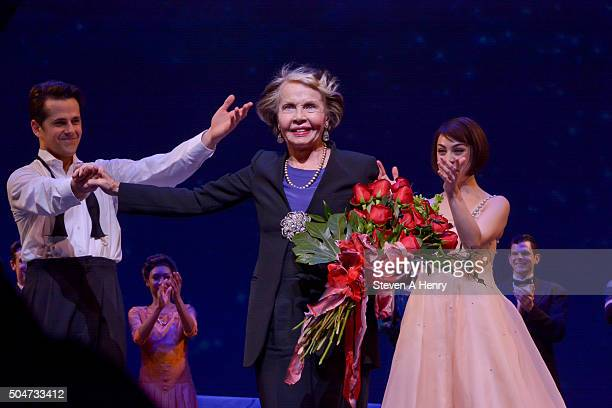 """Actress Leslie Caron attends the curtain call for """"An American in Paris"""" at the Palace Theatre on January 12, 2016 in New York City."""