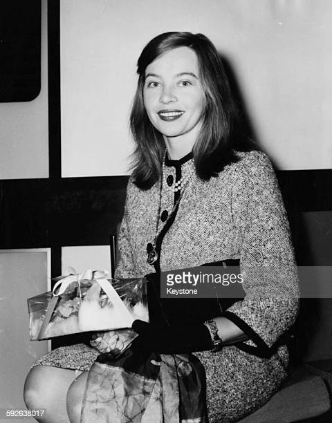 Actress Leslie Caron star of the film 'Gigi' at Columbia Theatre to watch a screening of the film 'Suddenly Last Summer' London circa 1959