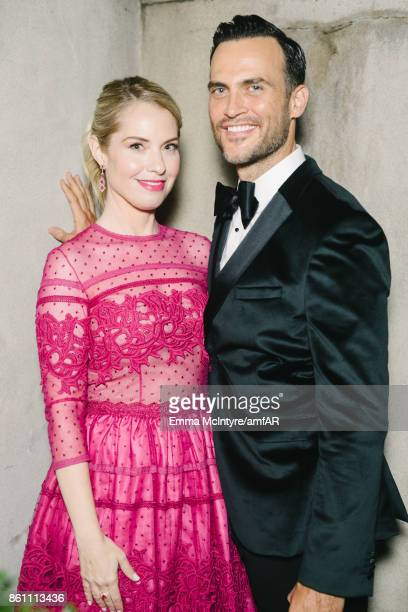 Actress Leslie Grossman and actor Cheyenne Jackson pose for a portrait at Ron Burkle's Green Acres Estate on October 13 2017 in Beverly Hills...