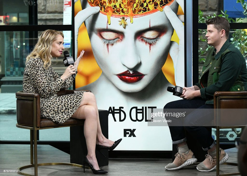 Actress Leslie Grossman visits Build to discuss 'American Horror Story' at Build Studio on November 13, 2017 in New York City.
