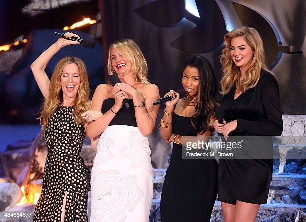 Actress Leslie Mann actress Cameron Diaz actresssinger Nicki Minaj and actressmodel Kate Upton speak onstage at the 2014 MTV Movie Awards at Nokia...