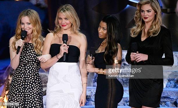 Actress Leslie Mann actress Cameron Diaz recording artist Nicki Minaj and model/actress Kate Upton speak onstage at the 2014 MTV Movie Awards at...