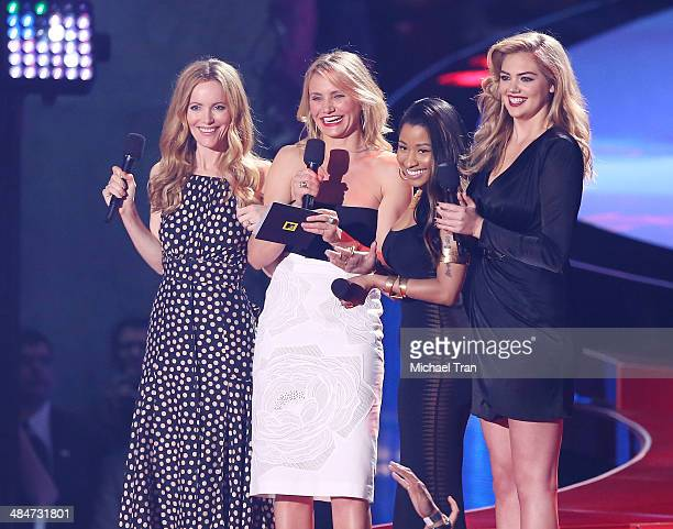 Actress Leslie Mann actress Cameron Diaz recording artist Nicki Minaj and model/actress Kate Upton speak onstage during the 2014 MTV Movie Awards...