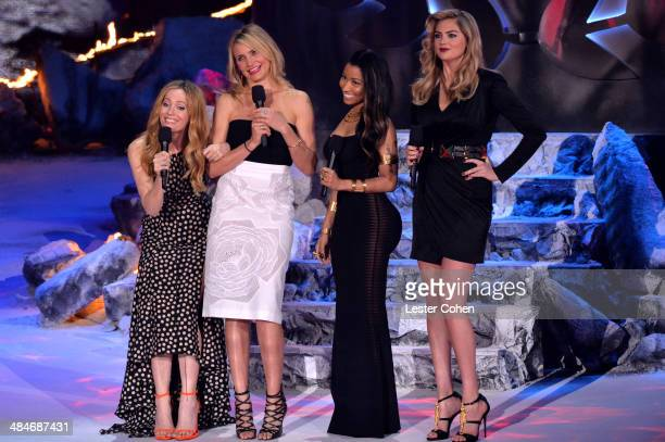 Actress Leslie Mann actress Cameron Diaz recording artist/actress Nicki Minaj and model/actress Kate Upton speak onstage at the 2014 MTV Movie Awards...