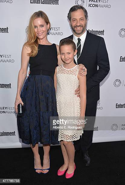 Actress Leslie Mann actress Iris Apatow and writer Judd Apatow attend The Paley Center For Media's 2014 PaleyFest Icon Award announcement at The...