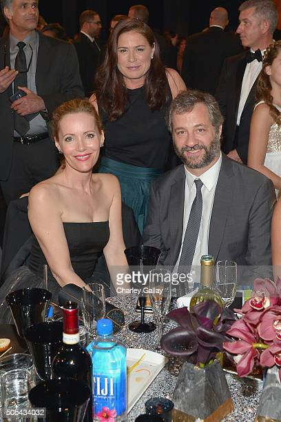 Actress Leslie Mann actress Maura Tierney and director/producer Judd Apatow at the 21st Annual Critics' Choice Awards presented by FIJI Water at...
