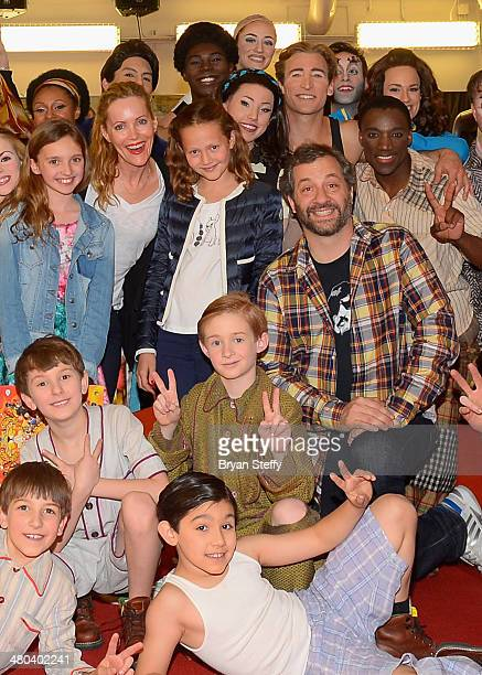 Actress Leslie Mann actress/daughter Iris Apatow and writer/producer Judd Apatow meet with performers from The Beatles LOVE by Cirque du Soleil at...