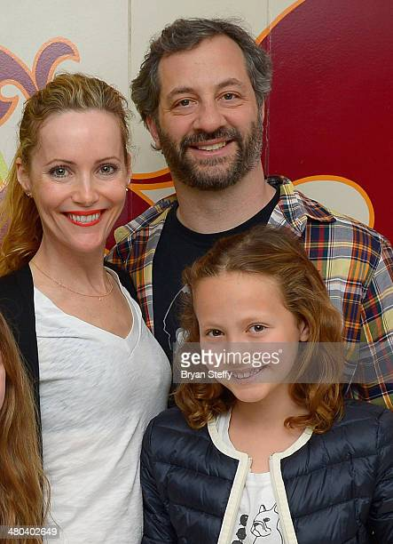 Actress Leslie Mann actress/daughter Iris Apatow and writer/producer Judd Apatow attend The Beatles LOVE by Cirque du Soleil at The Mirage Hotel...