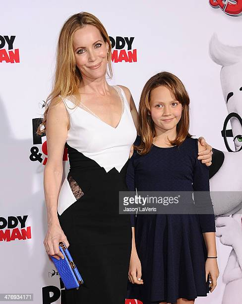 Actress Leslie Mann and daughter Iris Apatow attend the premiere of Mr Peabody Sherman at Regency Village Theatre on March 5 2014 in Westwood...