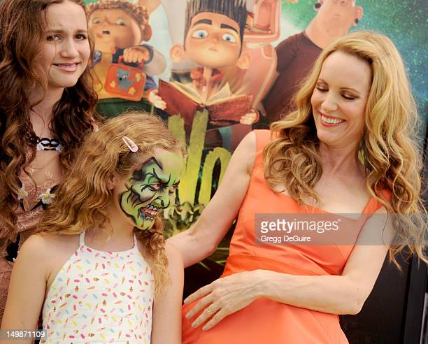 Actress Leslie Mann and daughter's Iris Apatow and Maude Apatow arrive at the Los Angeles premiere of ParaNorman at AMC CityWalk Stadium 19 at...