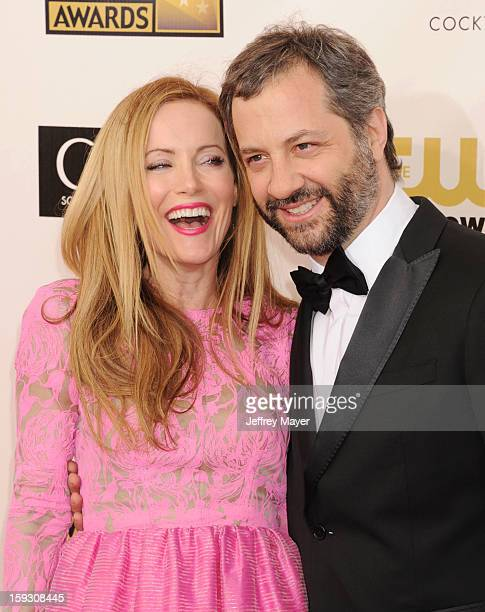 Actress Leslie Mann and director Judd Apatow arrive at the 18th Annual Critics' Choice Movie Awards at The Barker Hangar on January 10 2013 in Santa...