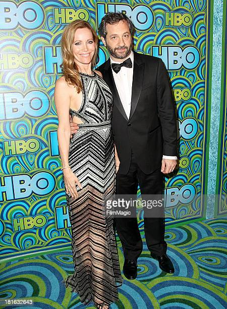 Actress Leslie Mann and director Judd Apatow attend HBO's official Emmy After Party at The Plaza at the Pacific Design Center on September 22 2013 in...