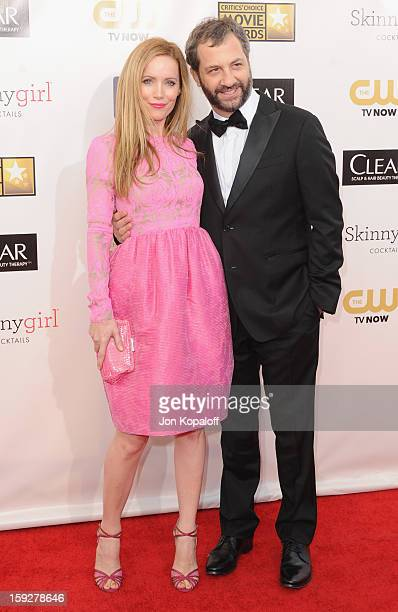 Actress Leslie Mann and husband director Judd Apatow arrive at the 18th Annual Critics' Choice Movie Awards at Barker Hangar on January 10 2013 in...