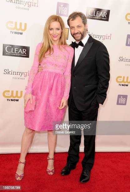 Actress Leslie Mann and producer Judd Apatow arrive at the 18th Annual Critics' Choice Movie Awards at The Barker Hangar on January 10 2013 in Santa...