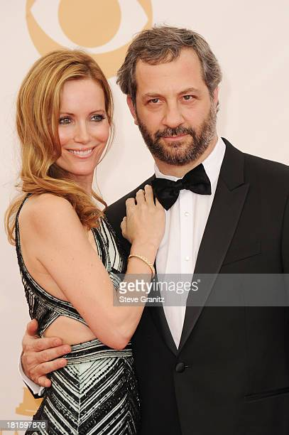 Actress Leslie Mann and producer Judd Apatow arrive at the 65th Annual Primetime Emmy Awards held at Nokia Theatre LA Live on September 22 2013 in...