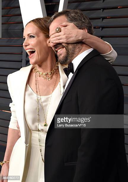 Actress Leslie Mann and producer/director Judd Apatow attend the 2015 Vanity Fair Oscar Party hosted by Graydon Carter at the Wallis Annenberg Center...