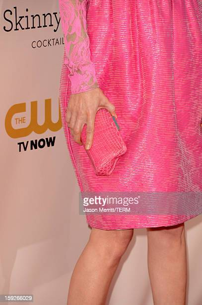Actress Leslie Mann arrives at the 18th Annual Critics' Choice Movie Awards held at Barker Hangar on January 10 2013 in Santa Monica California