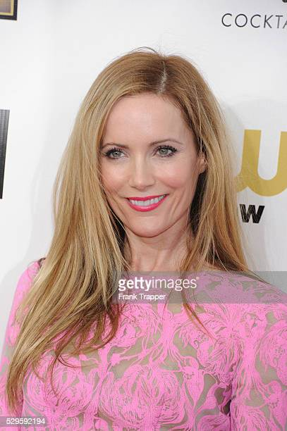 Actress Leslie Mann arrives at the 18th Annual Critics' Choice Movie Awards held at Barker Hanger in Santa Monica California