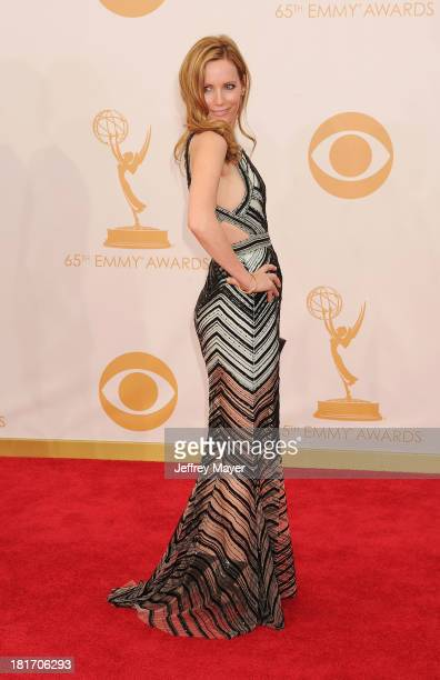 Actress Leslie Mann arrives at the 65th Annual Primetime Emmy Awards at Nokia Theatre LA Live on September 22 2013 in Los Angeles California