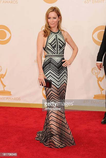 Actress Leslie Mann arrives at the 65th Annual Primetime Emmy Awards at Nokia Theatre L.A. Live on September 22, 2013 in Los Angeles, California.
