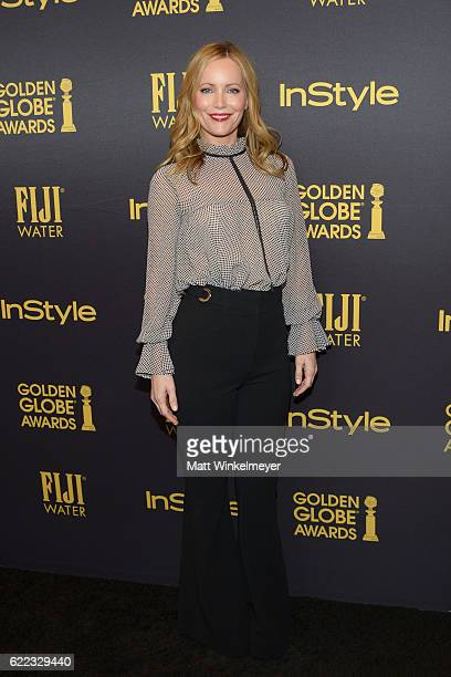 Actress Leslie Mann arrives at the Hollywood Foreign Press Association and InStyle celebrate the 2017 Golden Globe Award Season at Catch LA on...