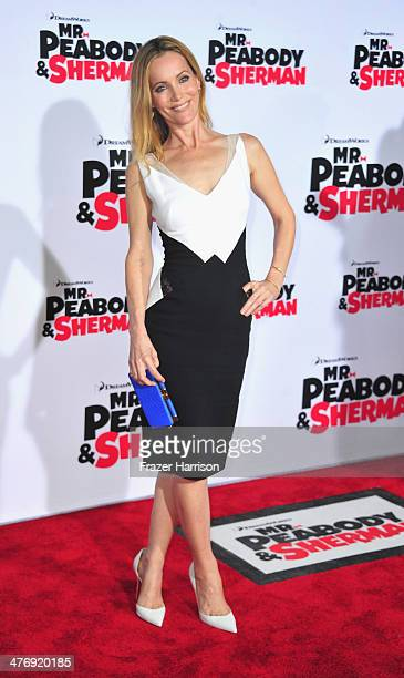 """Actress Leslie Mann arrives at the Premiere of Twentieth Century Fox and DreamWorks Animation's """"Mr. Peabody & Sherman"""" at Regency Village Theatre on..."""