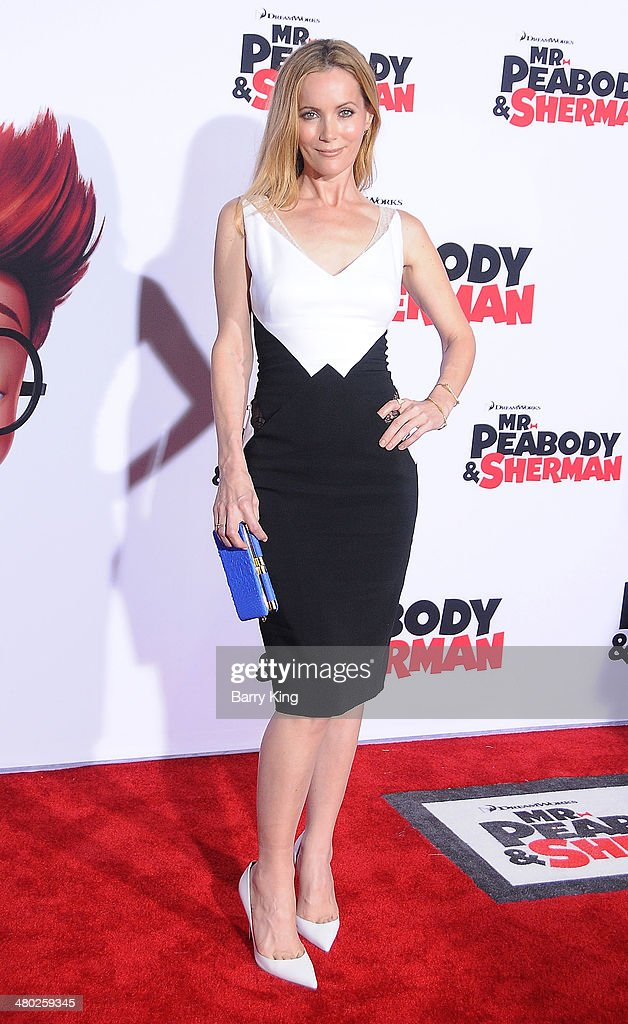 Actress Leslie Mann attends the premiere of 'Mr. Peabody & Sherman' on March 5, 2014 at Regency Village Theatre in Westwood, California.