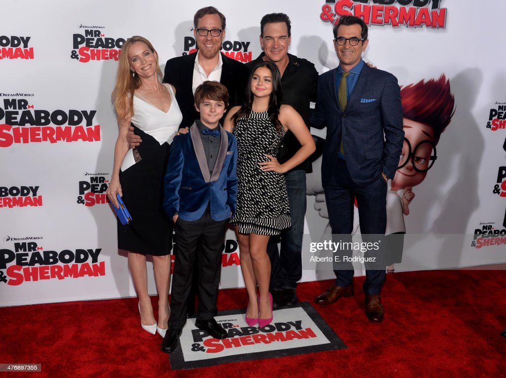 Actress Leslie Mann, Director Rob Minkoff, actors Patrick Warburton, Ty Burrell, (Front L-R) actors Max Charles and Ariel Winter attend the premiere of Twentieth Century Fox and DreamWorks Animation's 'Mr. Peabody & Sherman' at Regency Village Theatre on March 5, 2014 in Westwood, California.