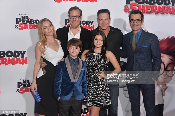 Actress Leslie Mann, Director Rob Minkoff, actors Patrick Warburton, Ty Burrell, actors Max Charles and Ariel Winter attend the premiere of Twentieth...