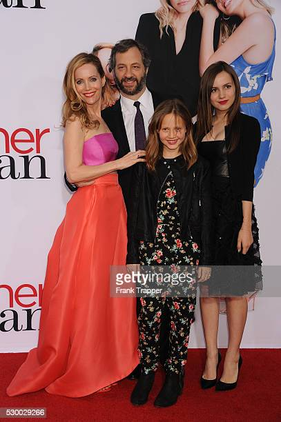Actress Leslie Mann filmmaker Judd Apatow Iris Apatow and Maude Apatow arrive at he premiere of The Other Woman held at the Regency Village Theater...