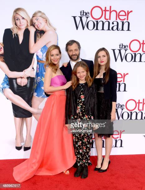 Actress Leslie Mann filmmaker Judd Apatow Iris Apatow and Maude Apatow attend the premiere of Twentieth Century Fox's The Other Woman at Regency...