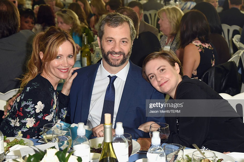 Actress Leslie Mann, honoree Judd Apatow and actress/writer Lena Dunham attend The Rape Foundation's annual brunch at Greenacres, The Private Estate of Ron Burkle on October 4, 2015 in Beverly Hills, California.