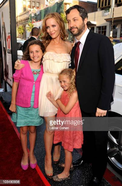 Actress Leslie Mann husband director Judd Apatow and their daughters Iris and Maude arrive at the premiere of Warner Bros 17 Again held at Grauman's...