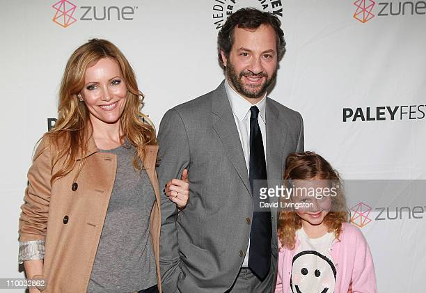Actress Leslie Mann husband writer/director Judd Apatow and their daughter Iris Apatow attend the Paley Center for Media's PaleyFest 2011 event...