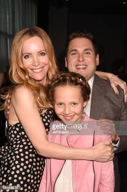 Actress Leslie Mann Iris Apatow and actor Jonah Hill attends the 2014 MTV Movie Awards at Nokia Theatre LA Live on April 13 2014 in Los Angeles...