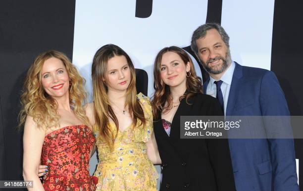 Actress Leslie Mann Iris Apatow Maude Apatow and producer Judd Apatow arrive for the Premiere Of Universal Pictures' Blockers held at Regency Village...