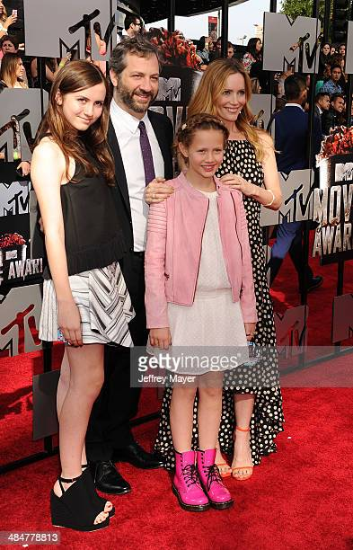 Actress Leslie Mann Judd Apatow and daughters Maude Apatow and Iris Apatow attend the 2014 MTV Movie Awards at Nokia Theatre LA Live on April 13 2014...