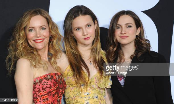 Actress Leslie Mann with daughters Iris Apatow and Maude Apatow arrive for the Premiere Of Universal Pictures' Blockers held at Regency Village...