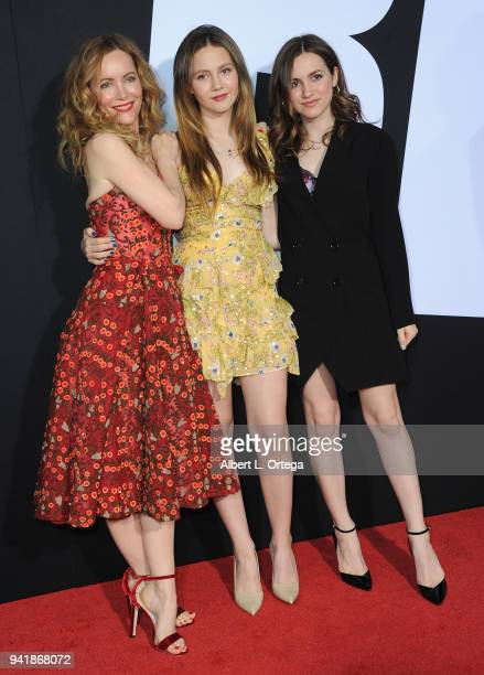 Actress Leslie Mann with daughters Iris Apatow and Maude Apatow arrive for the Premiere Of Universal Pictures' 'Blockers' held at Regency Village...