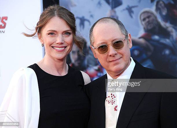 Actress Leslie Stefanson and actor James Spader arrive at the Premiere Of Marvel's 'Avengers Age Of Ultron' at the Dolby Theatre on April 13 2015 in...