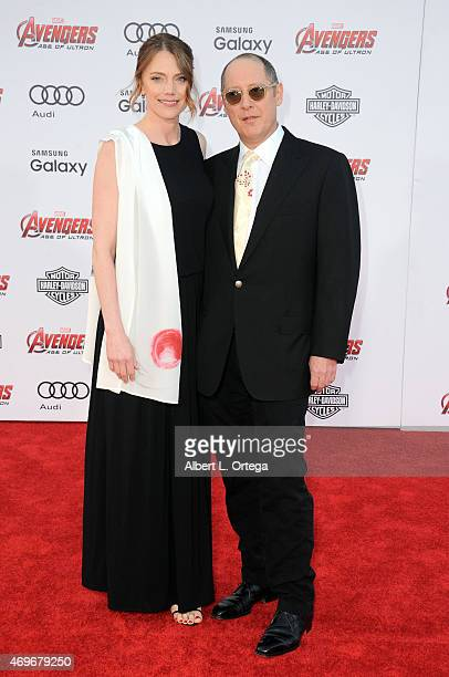 Actress Leslie Stefanson and actor James Spader arrive for the Premiere Of Marvel's Avengers Age Of Ultron held at Dolby Theatre on April 13 2015 in...