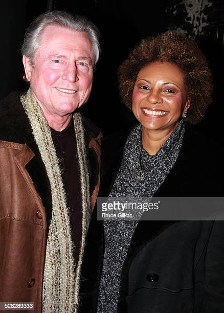 Actress Leslie Uggams and husband Graham Pratt pose backstage where Aretha Franklin celebrated her 66th Birthday with friends and The cast of Cat on...