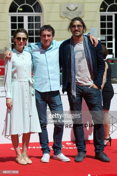 Actress Leticia Dolera director Alex Pina and actor Alex Garcia attend the 'Kamikaze' photocall at the Cervantes Theater during the 17th Malaga Film...