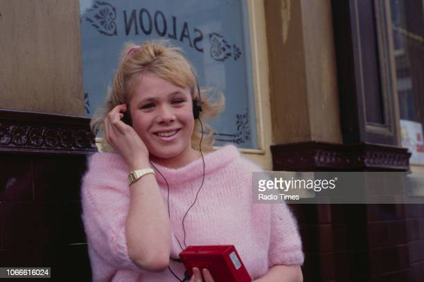 Actress Letitia Dean pictured on the exterior set of the BBC soap opera 'EastEnders' circa 1986