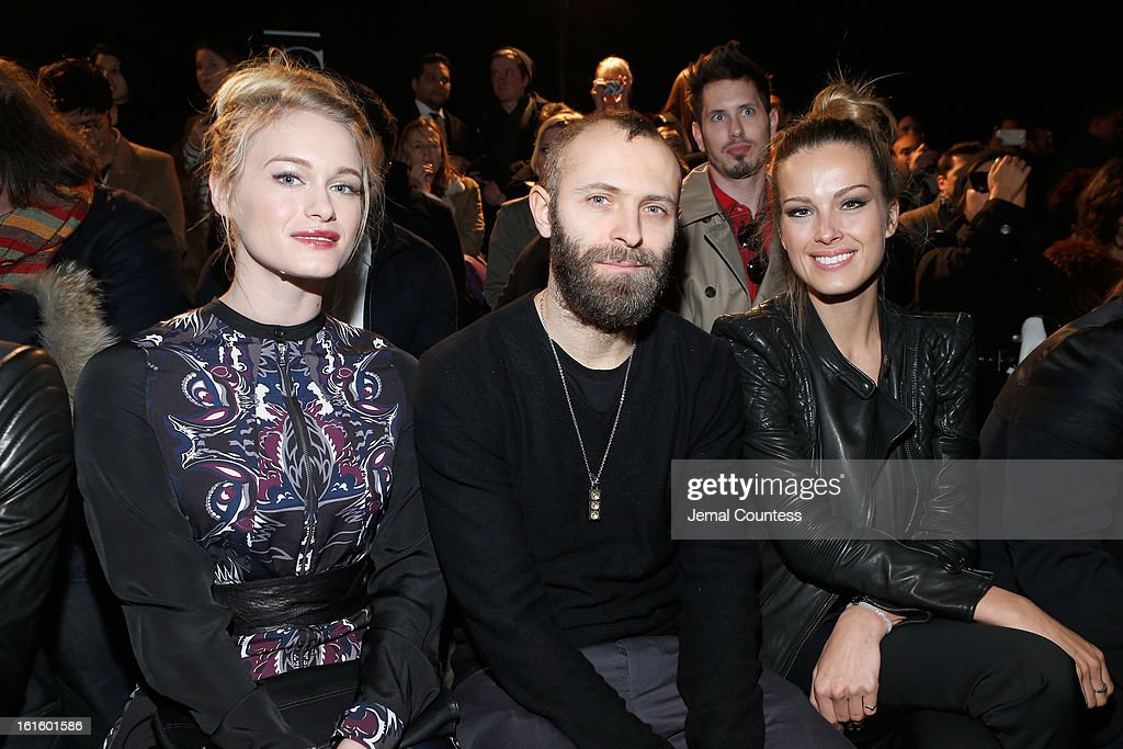 Actress Leven Rambin, Stefano Rosso, and model Petra Nemcova attendthe Diesel Black Gold Fall 2013 fashion show during Mercedes-Benz Fashion Week at Pier 57 on February 12, 2013 in New York City.