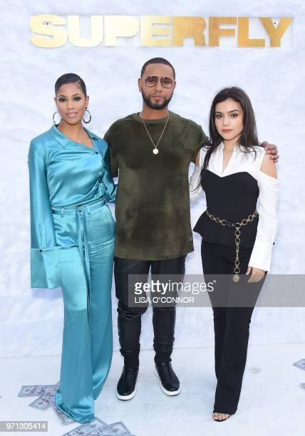US actress Lex Scott Davis Canadian director X and Mexican actress Andrea Londo attend the 'Superfly' Special Screening in Culver City California on...